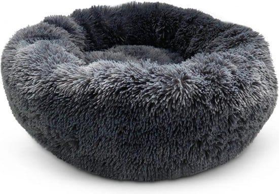 fluffy hondenmand grijs